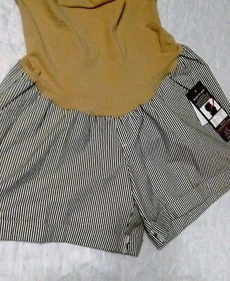 NWT Oh Baby Maternity Secret Fit Belly Navy Striped Shorts Size L: FREE SHIPPING