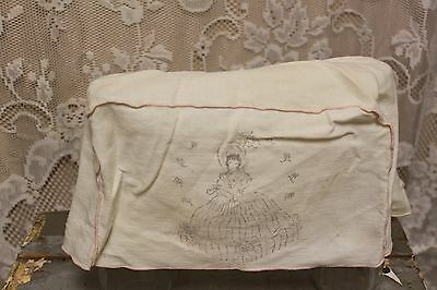 Vintage Off White / Pink Linen Victorian Woman Toaster Cover
