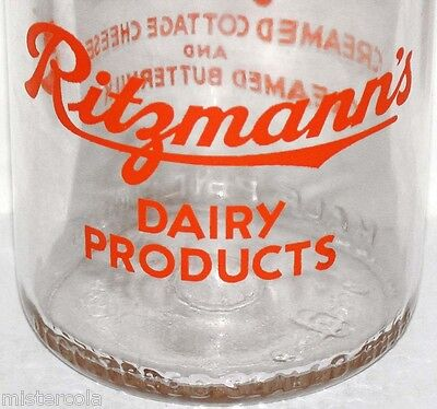Vintage milk bottle RITZMANNS DAIRY PRODUCTS Lawrenceburg Indiana pyro half pint