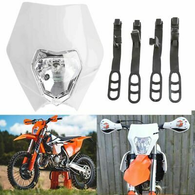 White Motocross MX Dirt Pit Bike Halogen Plastic Fairing Headlight 4 Rec Reg