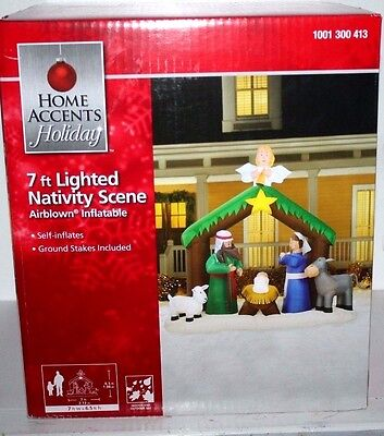 Christmas 7 Ft Lighted Nativity Scene Airblown Inflatable  Indoor Outdoor Use