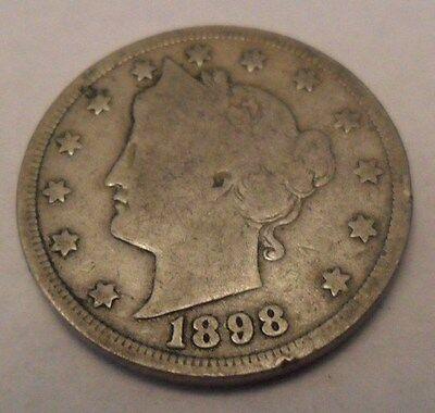 "1898 P Liberty Head ""v"" Nickel  **free Shipping**"