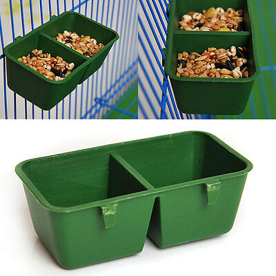 2 in 1 Hamster Cage Dual Feeding Cups Parrot Bird Food Water Bowl Plastic Feeder