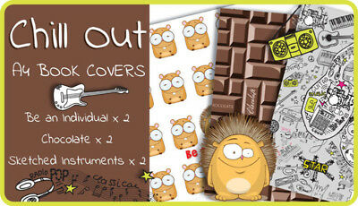 School Book Covers, A4 Book Covers, 2 Kool 4 Skool kids Chill Out Pack, Chocolat