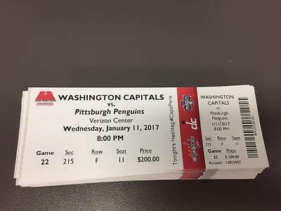 Ovechkin 1000 Point Capitals Penguins MINT Season Ticket 1/11/17 2017 NHL Stub