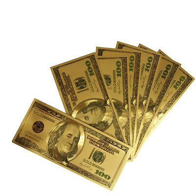 10pcs Novelty Gold Plated Color money US Older Version 100 Dollar Banknote bills