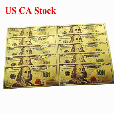 10pcs Novelty Gold Plated Color money US New Version 100usd Banknote bill Crafts