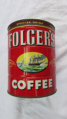 Vintage Metal Folgers Coffee Can Red With Lid ©1946 Regular Grind 1lb Can Ships