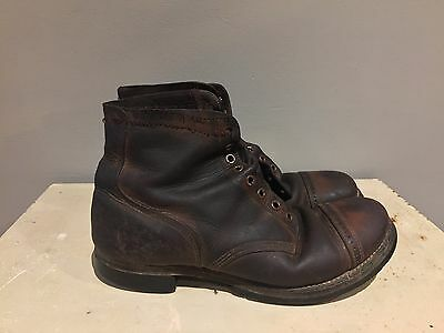 VINTAGE Original WW2 WWII US Army Chukka Brown Boots Service Boot Size 8.5 USA
