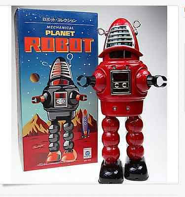 Red  Robie Robot Tin Toy Clockwork  Wind-Up Robbie Robot Sparks In Helmet