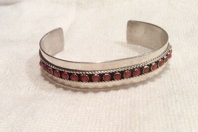 Native American PATRICK YAZZIE Silver Cuff with 19 Coral Stones ~ FREE SHIPPING