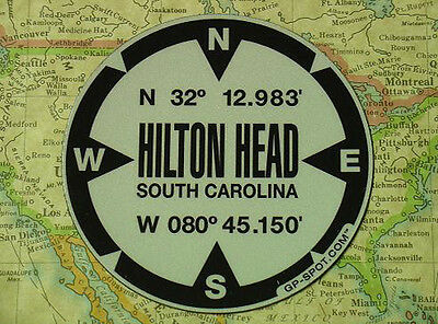 Hilton Head, South Carolina GPS Sticker - Reflective Vinyl GPS Marker Decal