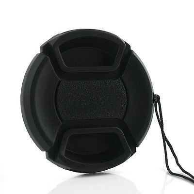 49mm Center Pinch Snap on Front Lens Cap Cover with String for Canon Nikon Sony