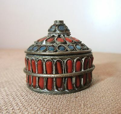 antique handmade turquoise stone coral inlaid tibetan pill trinket box jar