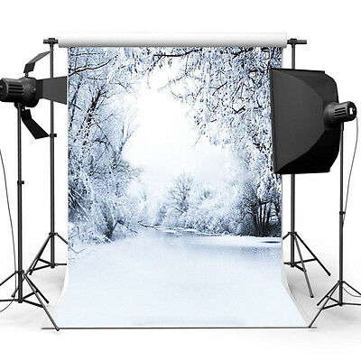 1x 5x7ft Snow Christmas Cloth Background Photography Photo Backdrop Studio Props