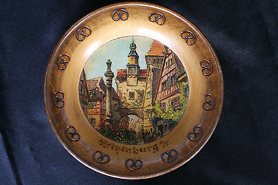 Antique 1940s Wood Decorative Plate Made in Rothenburg Germany