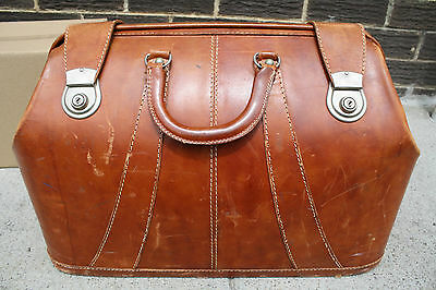 Vintage 1950s Cheney England Made Brown Leather Bag LUGGAGE Top Grain Hide