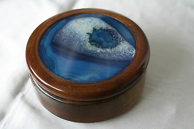 Vintage 1970s Rare Blue Agate Cover Woodcarving Jewelry Box