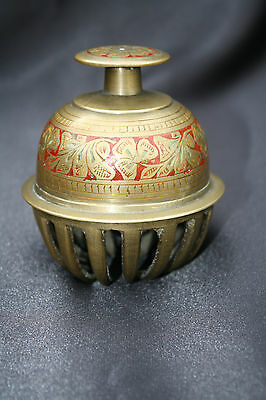 Antique Solid Brass Indian Elephant Bell Engraved Flower Pattern. 1900 - 1930s