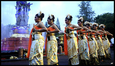 Girl Pottery Figurine Danced During Parade for the Last Sundown of the Year Bali
