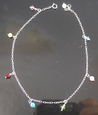 Brand New Solid Sterling Silver Anklet With Beads