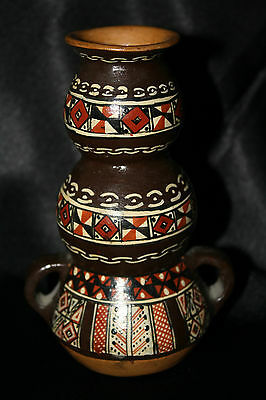 Vintage Peru Hand Painted Multicolour Pottery Pot Made in Cusco