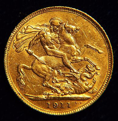 Nice 1911 George V Full Gold Sovereign Traces Of Mint Lustre