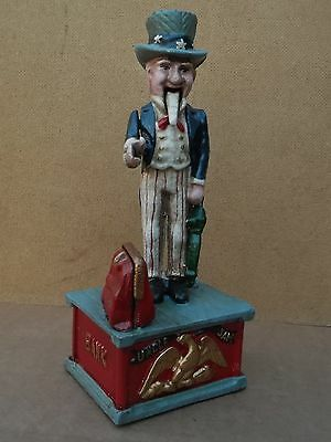 Uncle Sam mechanical Money Box...£1 coin drops into the bag !!!!