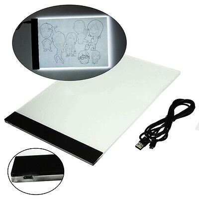 A4 LED Stencil Board Light Box Tracing Table Drawing Pad+USB Cable+USB Charger