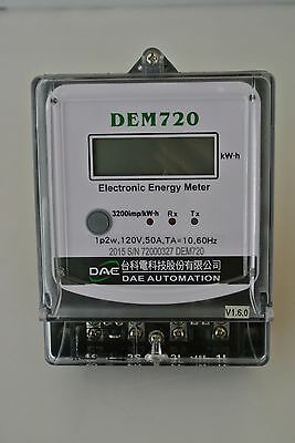 DAE DEM720-1 Electric kWh Submeter, 1 phase, 2 wire, 120v, 50A, Internal CT