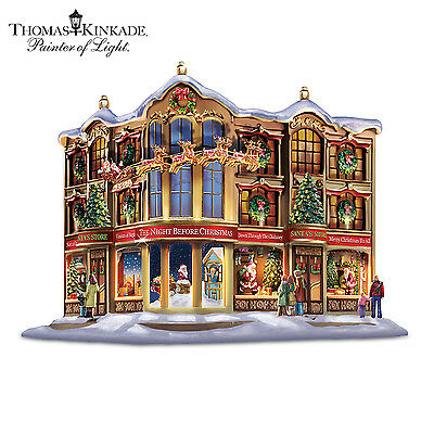 Thomas Kinkade Memories Of Christmas Sculpture with Lights and Narration