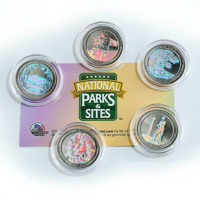 US 25 cents set of 5 America's National Park hologram coins 2013