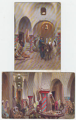 2 Vintage Postcard Of Views In A Moroccan? Market Unposted.