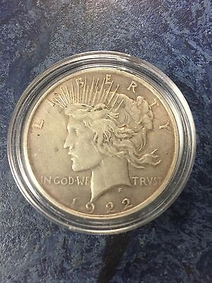 1922 USA Silver Peace Dollar in protective capsule  # tray 2F
