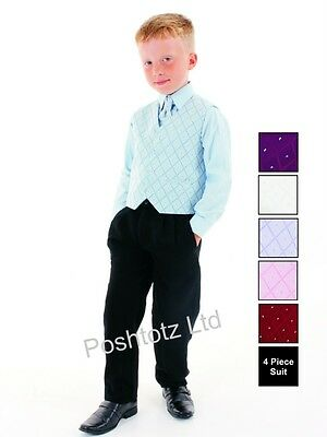 Boys Suits 4 Pc Blue & Black Formal Suit ,Weddings, Christenings ,Prom  formal