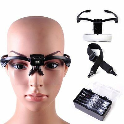 5pcs Lens Head Band Magnifier Glass Visor 2-LED Light Magnifying Loupe New JL