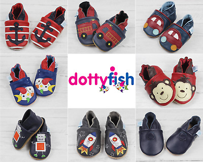 Dotty Fish Boys Soft Leather Baby and Toddler Shoes with non slip Suede Soles