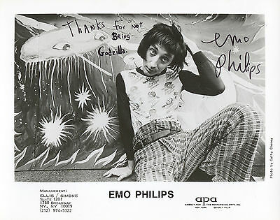 "EMO PHILIPS (""UHF/Meet the Parents"") Hand-signed 1980s 8"" x 10"" portrait"