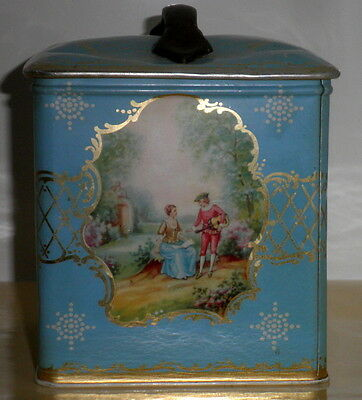 Vintage Light Blue With Gold Trim Romantic French Design Biscuit Tin