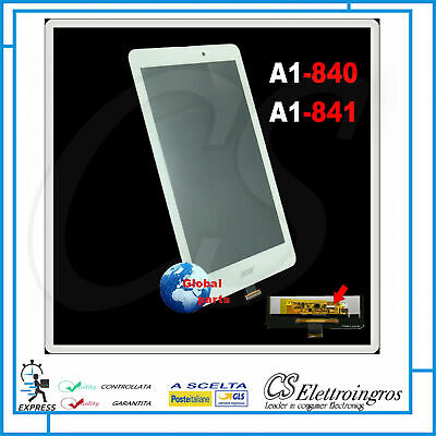 Ricambio TOUCH + Display LCD Assemblato Bianco ACER Iconia 8' A1 840 A1 841