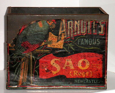 SCARCE OLD ARNOTTS NEWCASTLE RARE SIZE 1lb 6oz SAO PAPER LABEL BISCUIT TIN