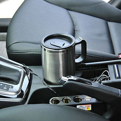 Stainless Steel Vehicle Mounted Cup Heated Travel Mug 12V 500ML + Cable JL
