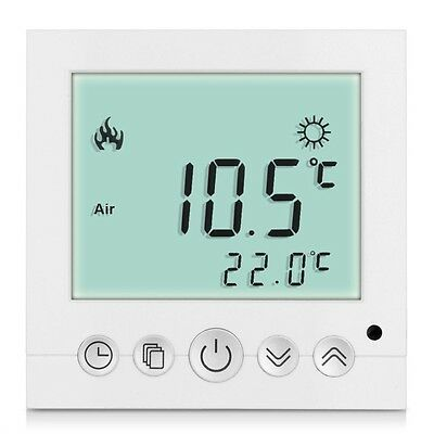 LCD Digital Heating Thermostat Room Temperature White Backlit Controller JL
