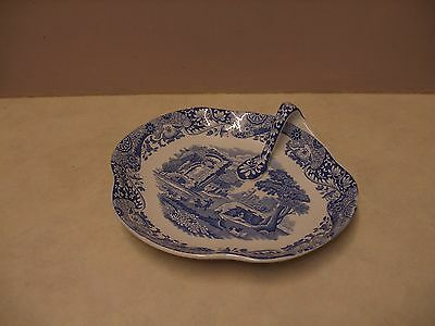 Spode Italian Blue and White Serving Dish With Handle