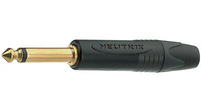 *GENUINE* Gold NEUTRIK NP2X-B  Jack plug mono nero oro black gold 6,3mm 1/4""