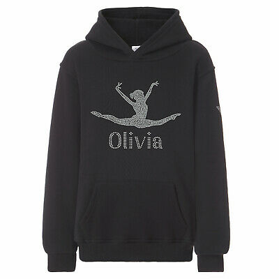 Girls Crystallized Personalised Gymnastics Hoodie Dance Leotard Hoody Varsany