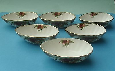 Rare Six Royal Albert Old Country Roses Avocado Dishes