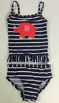 Baby Girls Next Navy Blue Striped Elephant Tankini Swim Suit Never Worn