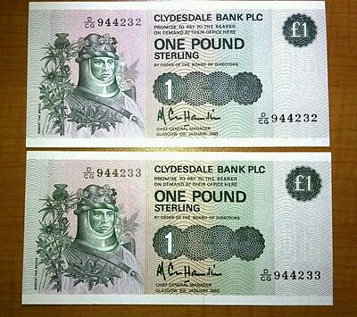 SCOTLAND - 2 x CLYDESDALE BANK £1 ONE POUND STERLING BANKNOTES CONSECUTIVE & UNC