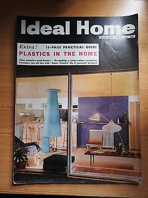Ideal Home magazine February 1958 vintage ads VG+